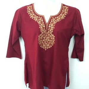 Cranberry and Gold Embroidered Tunic NWT SZ XL
